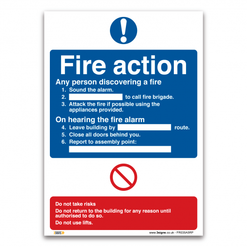 Fire action plan sign