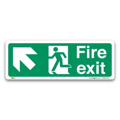 fire exit arrow left up sign