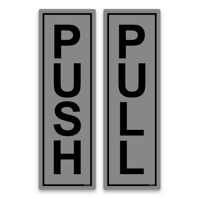 push pull signs silver