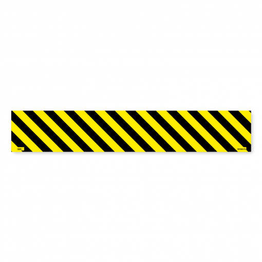 black and yellow hashed floor sign