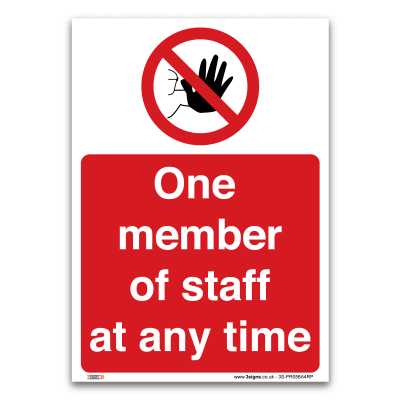 one member of staff at any time sign