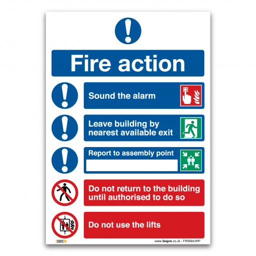 Fire Action Symbolised Plan Sign