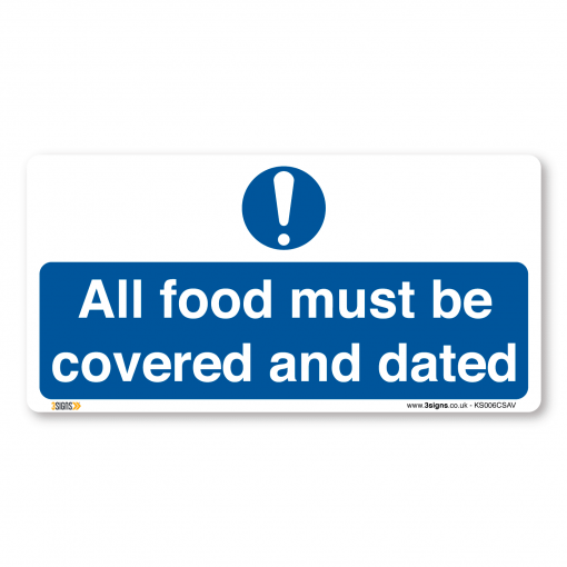 all food must be covered and dated kitchen sign