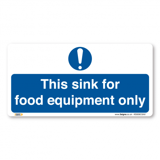 this sink for food equipment only kitchen sign