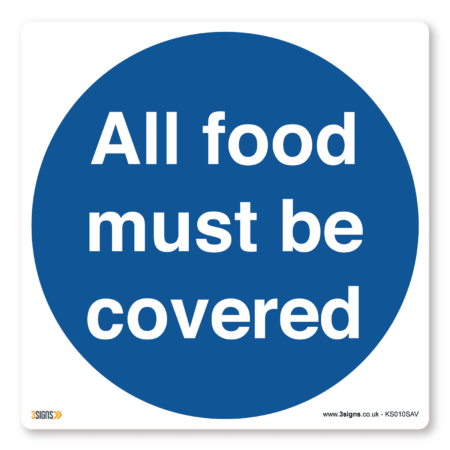 all food must be covered kitchen sign